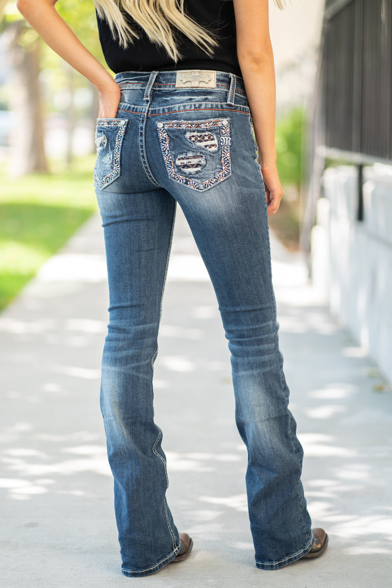 Miss Me  Collection: Spring 2020 Style Name: Americana Color: Dark Wash 98% Cotton, 2% Elastane Cut: Boot Cut, 34