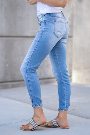 "Kan Can Jeans  Collection: Core Collection Color: Light Wash Cut: Ankle Skinny, 27"" Inseam Rise: Low-Rise, 7.5"" Front Rise Material: 72% COTTON 15% RAYON 12% POLYESTER 1% SPANDEX Machine Wash Separately In Cold Water Stitching: Classic Fly: Zipper Fly Style #: KC8086L.3"