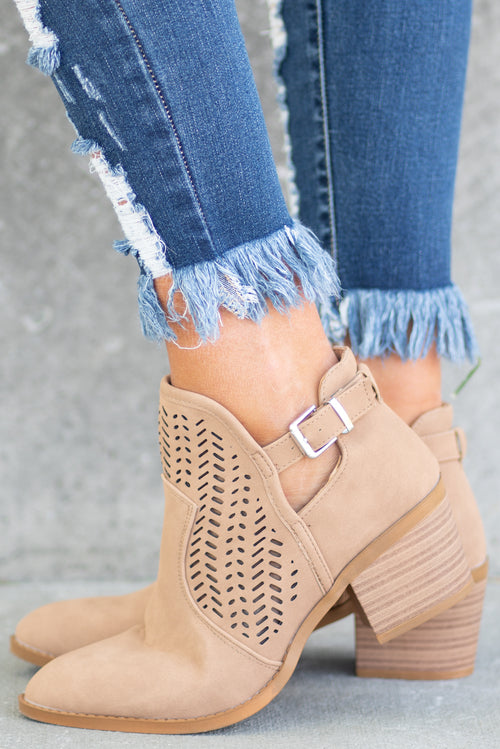 Ankle Booties by Wild Diva Lounge Style Name: So Chic Color: Camel Tan Cut: Ankle Boots Pull on Boot with Perforated Front Material. Outsole: Rubber Upper: Textile/Manmade  Contact us for any additional measurements or sizing.