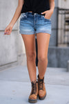 Embroidered Mid Rise Shorts