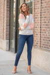 "Hem & Thread   This cozy color block sweater will keep you warm paired with your favorite denim and warm boots.  Collection: Fall 2020 Color: Pink & Heather Grey Neckline: Crew Round  Sleeve: Long Sleeve SELF 100% COTTON CONTRAST : 65% COTTON 35% POLYESTER Style #: 7732F  Contact us for any additional measurements or sizing.  Taylor is 5'7"" and wears a size 3 in jeans, small top and an 8.5 in shoes. She is wearing a size small in the sweater."