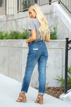 "VERVET by Flying Monkey Jeans Collection: Fall 2020 Name: Super Love Cut: Rolled Boyfriend, 27"" skinny Rise: High Rise, 11"" Front Rise 100% Cotton   Machine Wash Separately In Cold Water Stitching: Classic Fly: Exposed Button Fly Style #: VT1205 Contact us for any additional measurements or sizing.  Haley is 5'6"" and wears size 25 in jeans, a small top and 7.5 in shoes. She is wearing a 25 in these jeans."