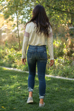 "VERVET by Flying Monkey Jeans Collection: Fall 2020 Name: Found You  Skinny, 27"" Inseam Rise: Mid Rise, 9"" Front Rise 99% COTTON 1% SPANDEX Fly: Zipper Style #: VT910 Contact us for any additional measurements or sizing.  Chloe is 5'8"" and 130 pounds. She wears a size 26 in jeans, a small top and 8.5 in shoes. She is wearing a 26 in these jeans."
