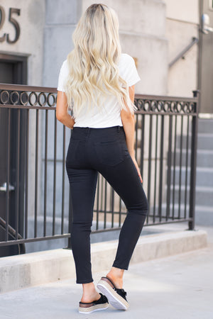 Vervet by Flying Monkey Jeans Collection: Core Style Style Name: No More Color: Black Cut: Ankle Skinny Rise: High Rise Material: Cotton Blend Fly: Exposed Button Fly  Style #: VT514