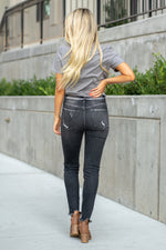 "VERVET by Flying Monkey Jeans Collection: Fall 2020 Name: Allie Cut: Ankle Skinny, 28"" Inseam Rise: High Rise, 10"" Front Rise 93.8% COTTON, 5.4% POLYESTER, 0.8% SPANDEX   Machine Wash Separately In Cold Water Stitching: Classic Fly: Exposed Button Fly Style #: VT1228 Contact us for any additional measurements or sizing.  Haley is 5'6"" and wears size 25 in jeans, a small top and 7.5 in shoes. She is wearing a 25 in these jeans."