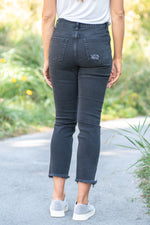 "JBD Label By Just USA Jeans  Color: Dark Grey Crop Straight, 26"" Inseam High Rise, 10"" Front Rise   Stitching: Classic Fly: Exposed Button Fly Style #: DP949  Contact us for any additional measurements or sizing.  Chloe is 5'8"" and 130 pounds. She wears a size 26 in jeans, a small top and 8.5 in shoes. She is wearing a 26 in these jeans."