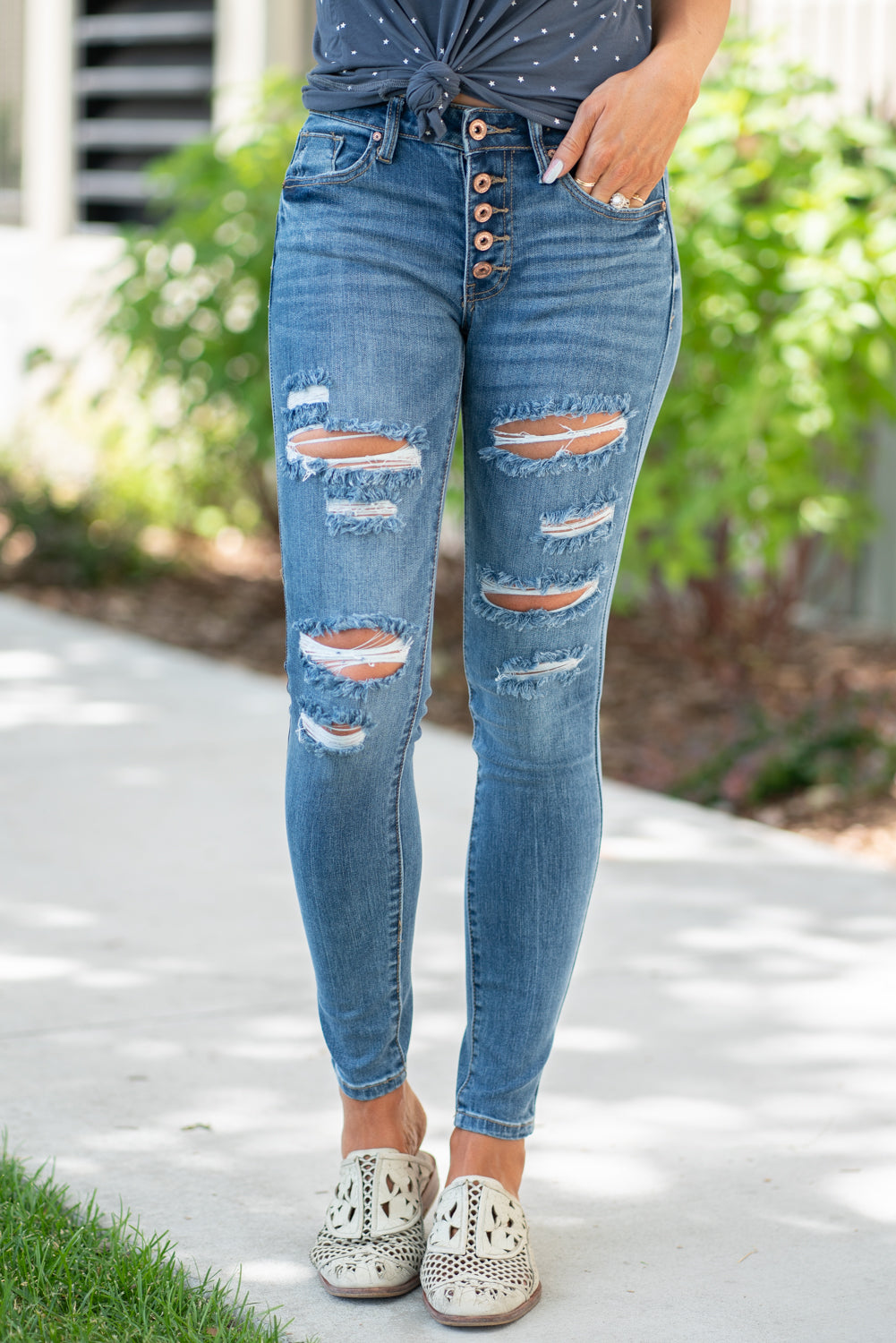 Mid Rise Button Fly Skinny