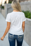"Show off your country sass in this cute Miss Me crew neck graphic tee shirt. Collection: Fall 2020 Color: White Neckline: Round Sleeve: Short 100% Cotton  Style #: MTJ0074S Contact us for any additional measurements or sizing.  Haley is 5'6"" and wears size 3 in jeans, a small top and 7.5 in shoes. She is wearing a size small in this top."