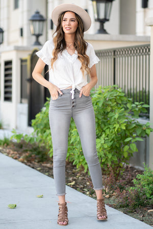 "Nature Denim  Collection: Summer 2020 Color: Grey Cut: Ankle Skinny, 27.5"" Inseam Rise: High Rise, 10.5"" Front Rise 72% Cotton 25% polyester 3% spandex Stitching: Classic Fly: Exposed Button Fly Style #: NT3022GR  Contact us for any additional measurements or sizing."