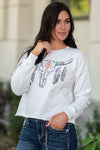 Miss Me  Collection: Fall 2020 Western Graphic Bull Horn Pullover Color: White Cut: Long Sleeve Self: 85% Cotton, 15% Spandex, Contrast: 95% Cotton, 5% Spandex Style #: MJT0036L Enjoy your western chic style in this adorable top featuring a bull graphic design at front, long sleeves, and a round neck line.  Contact us for any additional measurements or sizing.