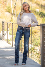 "Miss Me Collection: Fall 2020 Wash: Dark Wash Inseam: 34"" Slim Boot Cut Cotton Blend Sequin Trim and Rhinestone Rivets  Mid Rise, 8.75"" Front Rise Embellished Fall Floral Peek A Boo Style #: M3662SB Contact us for any additional measurements or sizing.  Haley wears a size small top, a 25 in jeans and a small in tops. She is wearing a size 25 in these jeans"