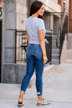 "Vervet Jeans Collection: Summer 2020 Name: Loud and Clear Color: Dark Wash Cut: Ankle Skinny Cut, 27"" Inseam Rise: Mid Rise, 8.75"" Front Rise Material: 93%COTTON, 5%POLYESTER, 2%SPANDEX Stitching: Classic Fly: Exposed Button Fly Style #: VT628"