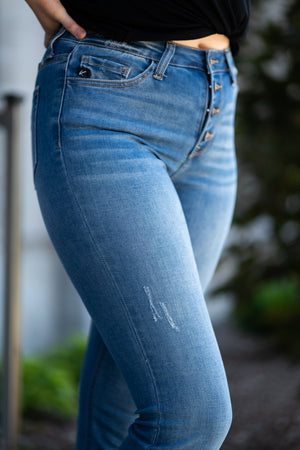 "Kan Can Jeans  Collection: Summer 2020 Color: Medium Wash Cut: Boot Cut, 33.75"" Inseam Rise: High-Rise, 10"" Front Rise Material: 41% COTTON 32% RAYON 25% POLYESTER 2% SPANDEX Stitching: Classic Fly: Exposed Button Fly Style #: KC7807M"