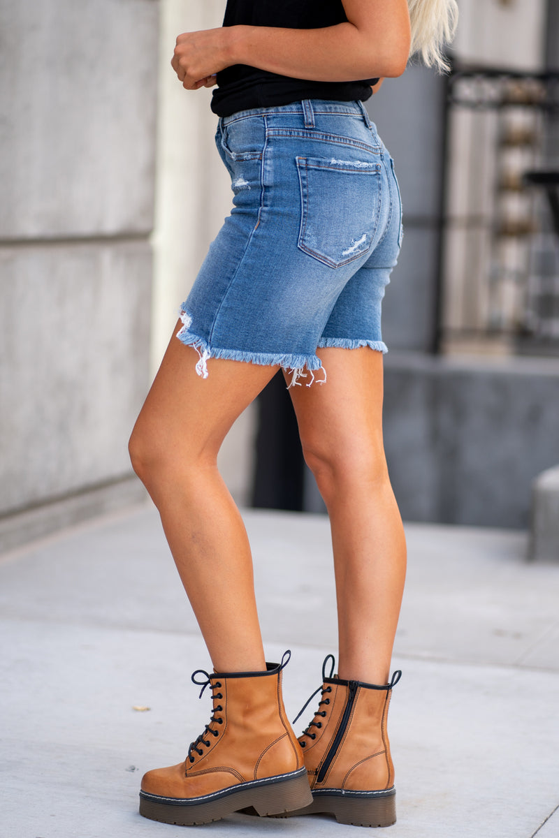 "VERVET Jeans  Collection: Summer 2020 Color: Medium Wash Cut: Mid Thigh Shorts, 6"" Inseam Rise: High Rise, 10"" Front Rise Material: 99%COTTON 1%SPANDEX Stitching: Classic Fly: Zip Style #: VT967"