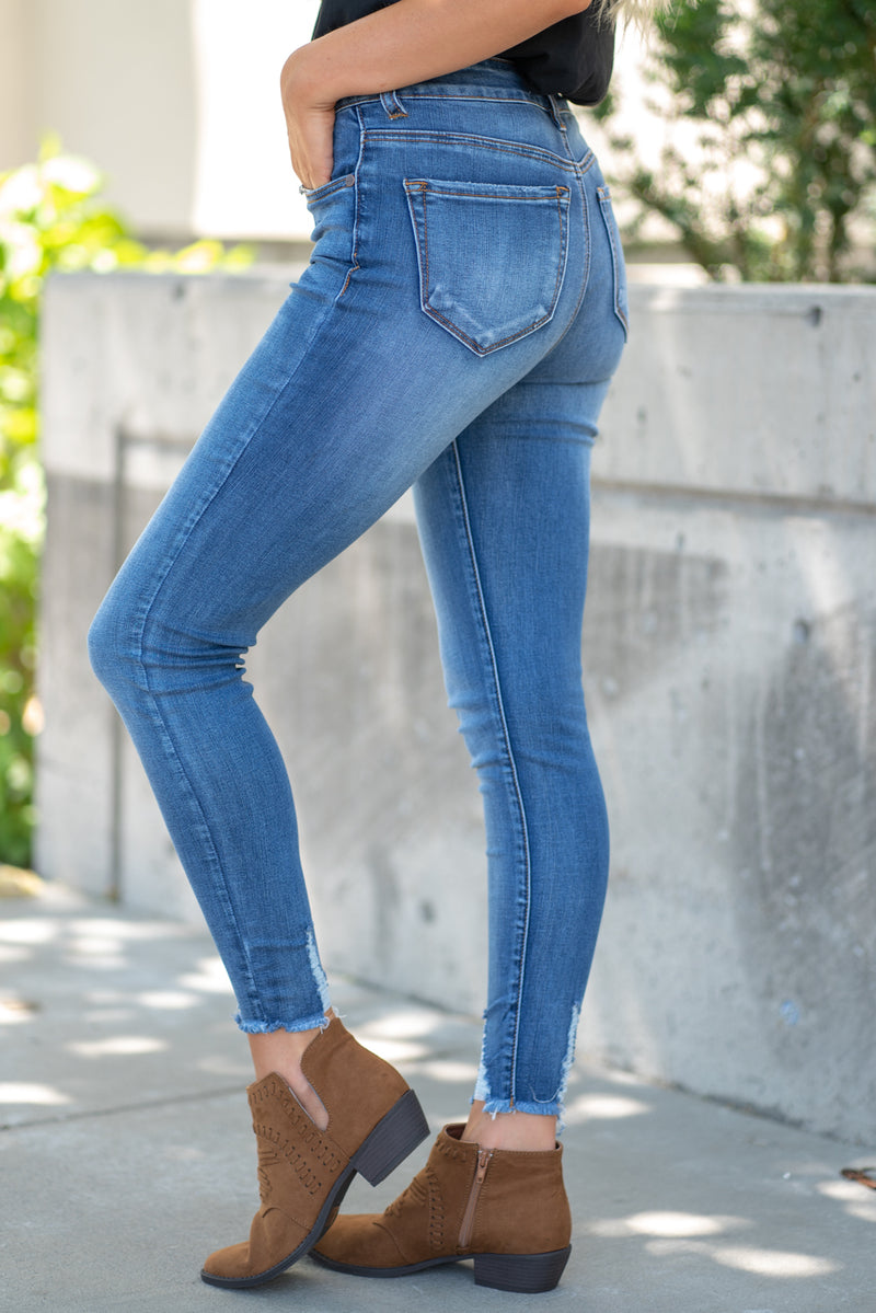 "Nature Denim  Collection: Summer 2020 Color: Medium Wash Cut: Ankle Skinny, 27"" Inseam Rise: High Rise, 9.5"" Front Rise 33% Cotton 33% Modal 28.8 Polyester 3.2% Rayon 2% Spandex Stitching: Classic Fly: Zipper Style #: NT2157M  Contact us for any additional measurements or sizing.  Haley wears a size small top, a 3 in jeans and a small in tops. She is wearing a size 3 in these jeans."
