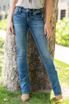 "Miss Me Collection: Fall 2020 Wash: Dark Blue 66% Cotton 14% Lyocell 18% Polyester 2% Elastane Front Rise: 9 1/2"" ; Back Rise: 14"" Inseam: 34"" Boot Cut Mid Rise, 8.75"" Front Rise Embellished Floral Filled Embellished Pocket Style #: M3613B Contact us for any additional measurements or sizing.  Chloe is 5'8"" and 130 pounds. She wears a size 5 in jeans, a small top and 8.5 in shoes. She is wearing a 26 in these jeans."