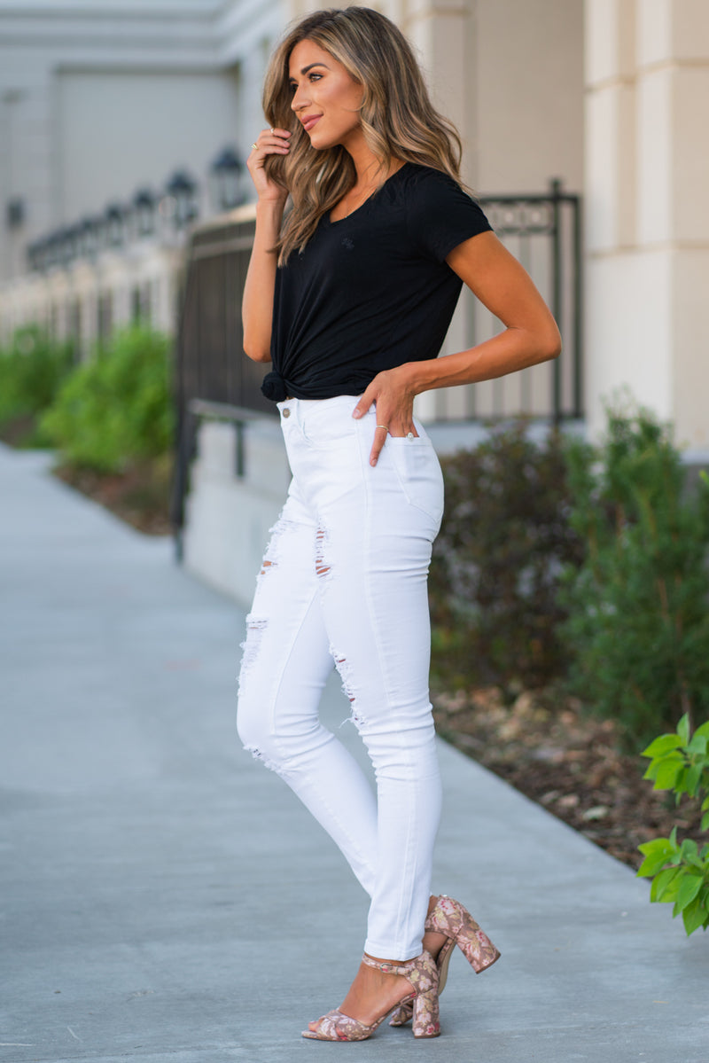 "Nature Denim  Collection: Summer 2020 Color: White Cut: Skinny, 29.5"" Inseam Rise: High Rise, 9.5"" Front Rise 65% Cotton 33% Modal 2% Spandex Stitching: Classic Fly: Zipper  Style #: NT2155WT  Contact us for any additional measurements or sizing."