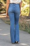 "JBD Label By Just USA Jeans  Color: Medium Blue Boot Cut, 34"" Inseam High Rise, 11"" Front Rise   74% COTTON, 14% RAYON, 11% POLYESTER, 1% SPANDEX Stitching: Classic Fly: Zipper Style #: DP456 Contact us for any additional measurements or sizing.  Chloe is 5'8"" and 130 pounds. She wears a size 26 in jeans, a small top and 8.5 in shoes. She is wearing a 26 in these jeans."