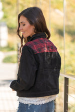 "KanCan Jeans  Collection: Fall 2020 Color: Buffalo Plaid Red, Black Cut: Half Fit Denim Jacket  Material: 100% Cotton Stitching: Classic Style #: KC6293BK Contact us for any additional measurements or sizing.  Chloe is 5'8"" and 130 pounds. She wears a size 26 in jeans, a small top and 8.5 in shoes. She is wearing a size small in this jacket."