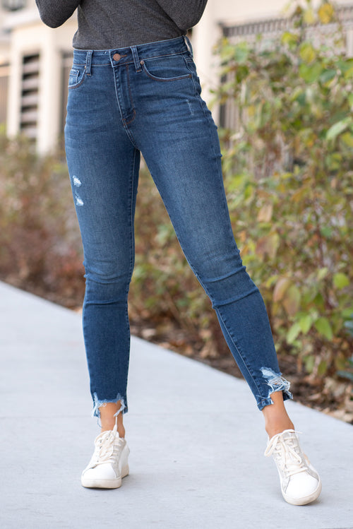 "JBD label by Just USA Jeans  Color: Dark Blue Cut: Ankle Skinny, 27.5"" Inseam High  Rise, 10"" Front Rise   Stitching: Classic Fray Hem Ankle & Small Ripped Thigh Fly: Zipper Style #: DP495-DK Contact us for any additional measurements or sizing.  Chloe is 5'8"" and 130 pounds. She wears a size 26 in jeans, a small top and 8.5 in shoes. She is wearing a 25/3 in these jeans."