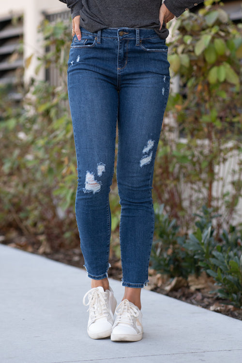 "Just USA Jeans  Color: Medium Blue Cut: Ankle Skinny, 27"" Inseam High  Rise, 9.5"" Front Rise   Stitching: Classic 51% COTTON, 36% RAYON, 12% POLYESTER, 1% LYCRA Fly: Zipper Style #: JP051-MD Contact us for any additional measurements or sizing.  Chloe is 5'8"" and 130 pounds. She wears a size 26 in jeans, a small top and 8.5 in shoes. She is wearing a 4 in these jeans."