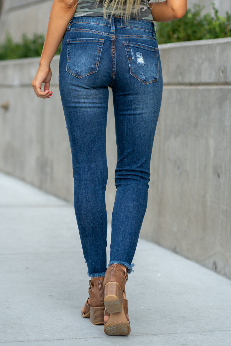 "Nature Denim  Collection: Fall 2020 Color: Dark Blue Cut: Ankle Skinny, 27"" Inseam Rise: Mid Rise, 8.75"" Front Rise 98% COTTON 2% SPANDEX Stitching: Classic Fly: Zipper Style #: NT2088D  Contact us for any additional measurements or sizing.  Haley is 5'6"" and wears size 25 in jeans, a small top and 7.5 in shoes. She is wearing a 25 in these jeans."