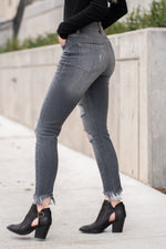 "KanCan Jeans Collection: Winter 2020 Color: Dark Grey Cut: Skinny, 27"" Inseam Rise: High-Rise, 9"" Front Rise COTTON 94.2% POLYESTER 4.7% SPANDEX 1.1% Stitching: Classic Fly: Zipper Style #: KC7148BK Contact us for any additional measurements or sizing.  Melissa is 5'5"" and wears a 24 in jeans, small top and size 6 shoe. She is wearing a 24 in these jeans."