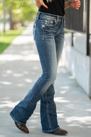"Miss Me  Collection: Spring 2020 Style Name: Americana Color: Dark Wash 98% Cotton, 2% Elastane Cut: Boot Cut, 34"" Inseam Rise: Mid-Rise, 8.75"" Front Rise Style #: M3637B"