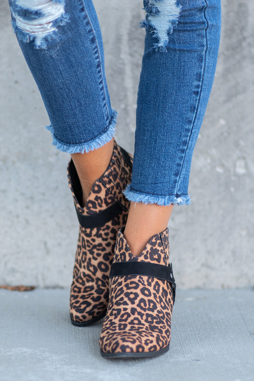 Leopard Booties by Qupid Style Name: Rager Color: Leopard Cut: Ankle Boots Single Thicker Sole Sandal Material. Outsole: Rubber Upper: Textile/Manmade  Contact us for any additional measurements or sizing.