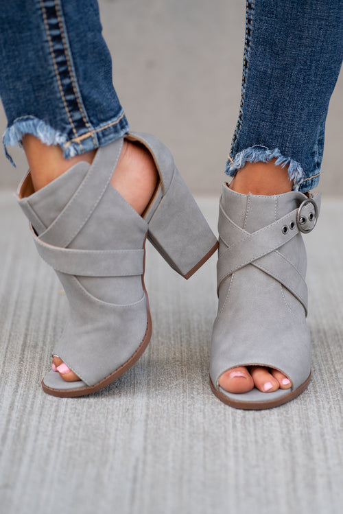 Grey Open Toe Booties by Qupid Style Name: Lost-44X Color: Grey Distressed Cut: Open Toe Material. Outsole: Rubber Upper: Textile/Manmade  Contact us for any additional measurements or sizing.