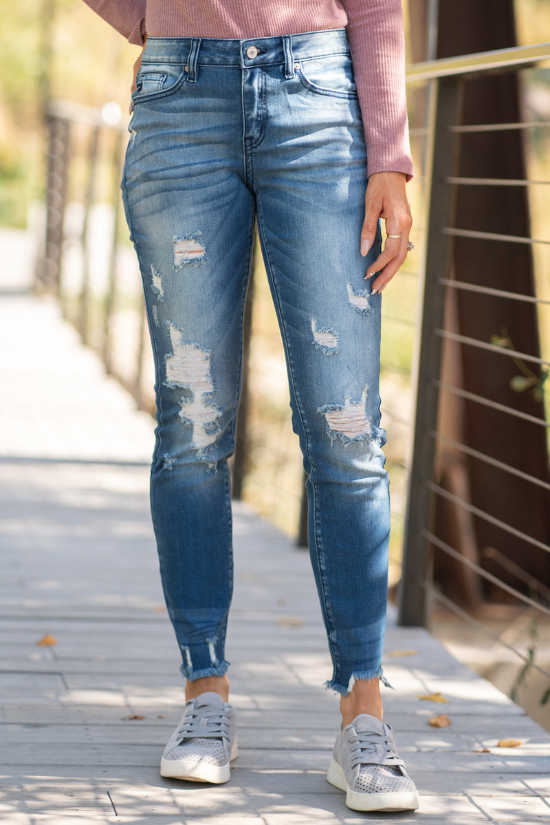 "KanCan Jeans Collection: Core Style Color: Medium Wash Cut: Ankle Skinny, 28"" Inseam  Rise: Mid Rise, 9"" Front Rise 74% COTTON 15% POLYESTER 10% RAYON 1% SPANDEX Stitching: Classic Fly: Zipper Fly Style #: KC8349SSD Contact us for any additional measurements or sizing.  Chloe is 5'8"" and 130 pounds. She wears a size 26 in jeans, a small top and 8.5 in shoes. She is wearing a 26/5 in these jeans."