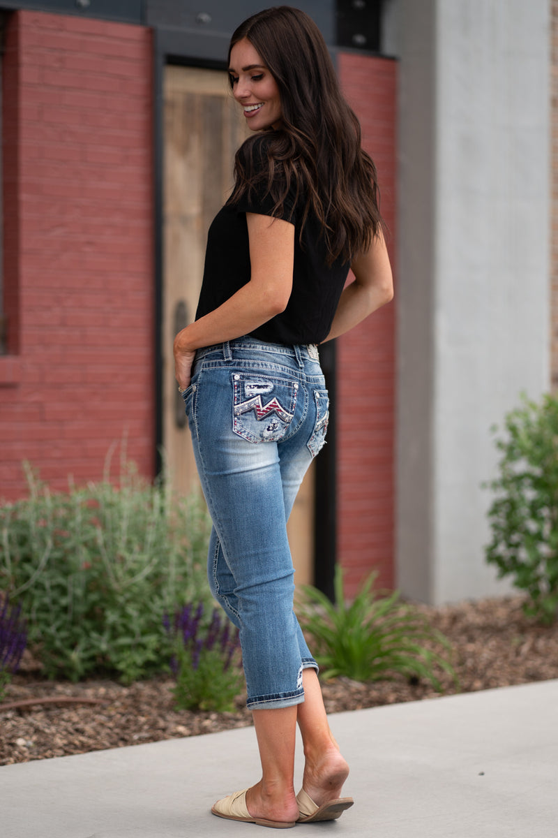 Miss Me Jeans Collection: Spring 2020 Name: Americana Capris Color: Medium Dark Wash Cut: Shorts, 23.5