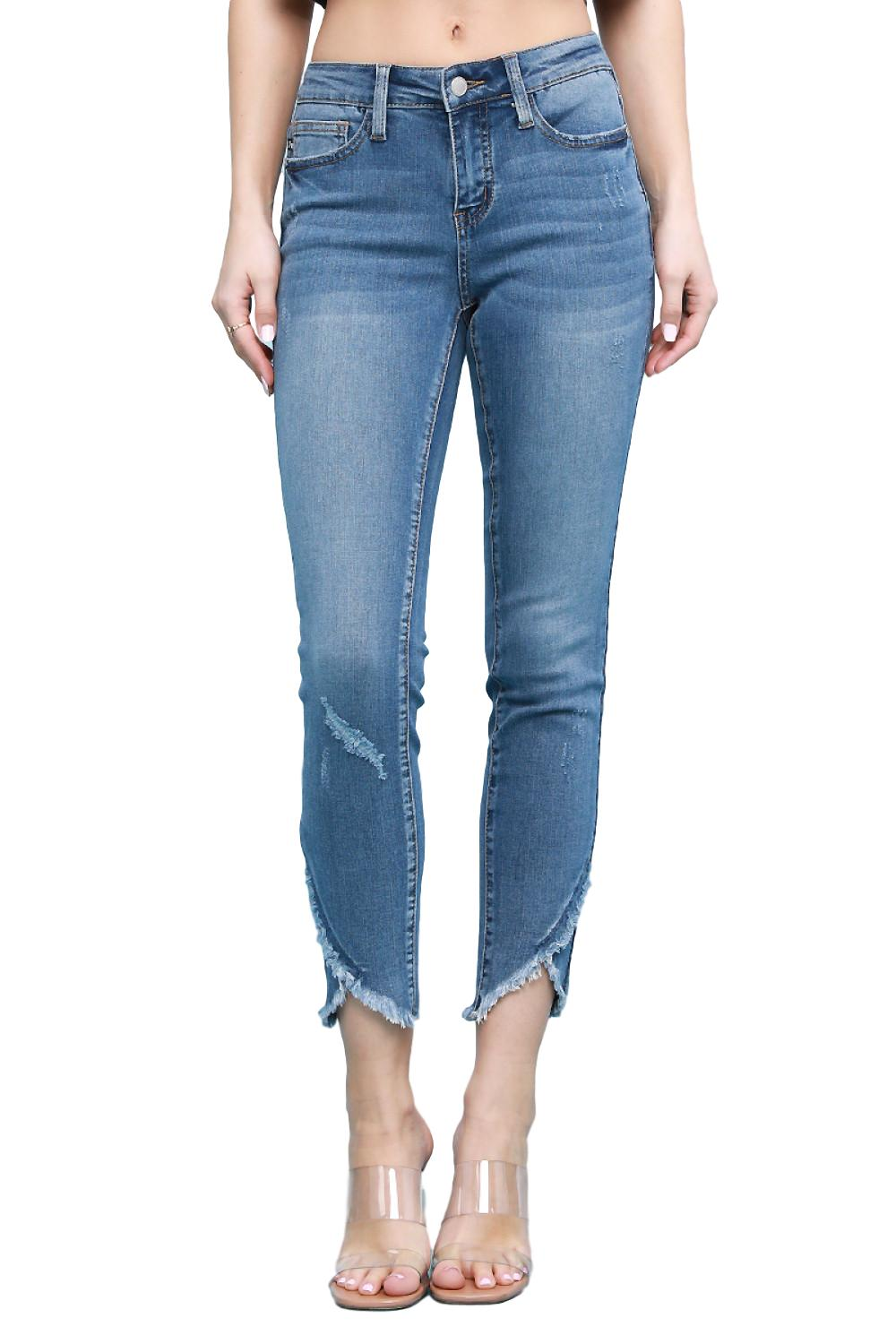 "Judy Blue Collection: Spring 2020 Style Name: Tulip Color: Medium Wash Cut: Ankle Skinny, 27"" Inseam Rise: Mid Rise, 8.75"" Material: 75% COTTON / 23% POLYESTER / 2% SPANDEX Machine Wash Separately In Cold Water Stitching: Classic Fly: Zipper Style #: JB8839-M Contact us for any additional measurements or sizing.  Judy Blue Size Guide:   Compared to Juniors: 0/24 1/25 3/26 5/27 7/28 9/29 11/30 13/31 15/32  Compared to Womens: 24/00 25/0 26/2 27/4 28/6 29/8 30/10 31/12 32/14"