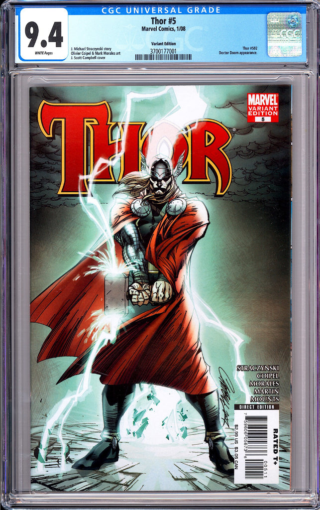 Thor #5 CGC 9.4 White Pages 2008 3700177001 Variant Edition