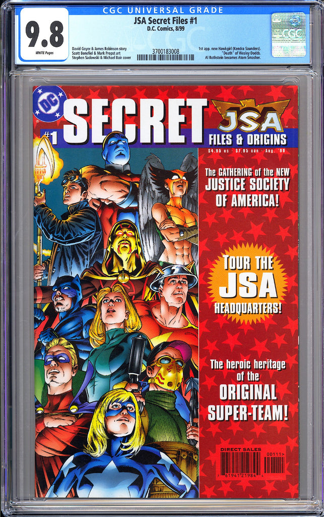 JSA Secret Files #1 CGC 9.8 White Pages 1999 3700183008 Hawkgirl