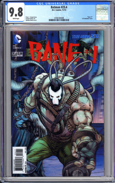 Batman #23.4 CGC 9.8 White Pages 3700183009 Bane #1, 3-D Lenticular Cover