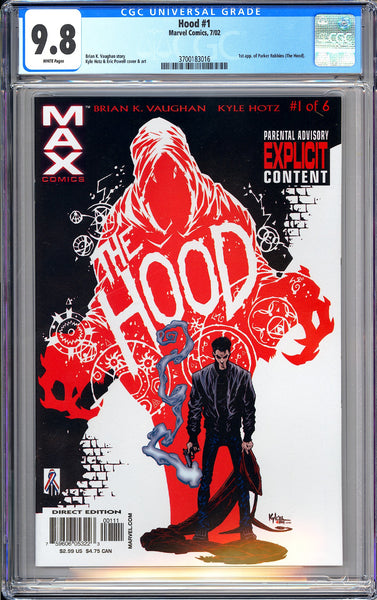 Hood #1 CGC 9.8 White Pages (2002) 3700183016 1st app. of Parker Robbins