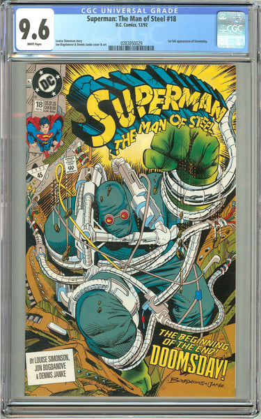 Superman The Man of Steel #18 CGC 9.6 White Pages 0283850029 Doomsday
