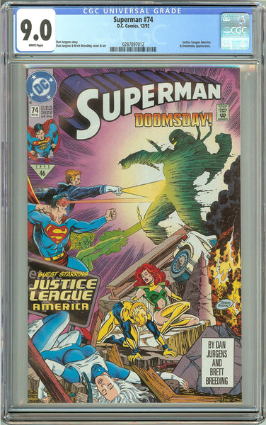 Superman #74 CGC 9.0 White Pages 0287897012 Doomsday appearance