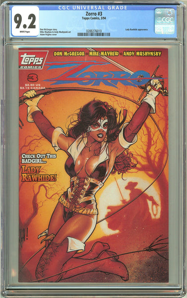 Zorro #3 Topps Comics (1994) CGC 9.2 White Pages 0288276010 Lady Rawhide