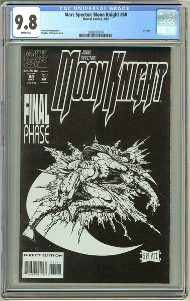 Marc Spector: Moon Knight #60 CGC 9.8 White Pages 0288276014 Stephen Platt