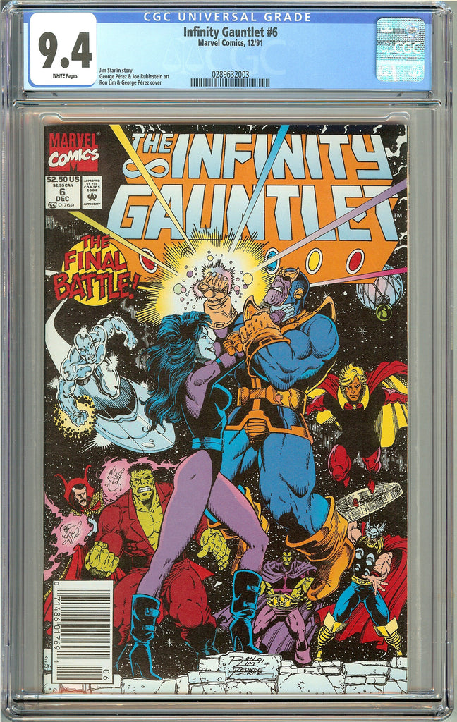 Infinity Gauntlet #6 (1991) CGC 9.4 White Pages 0289632003