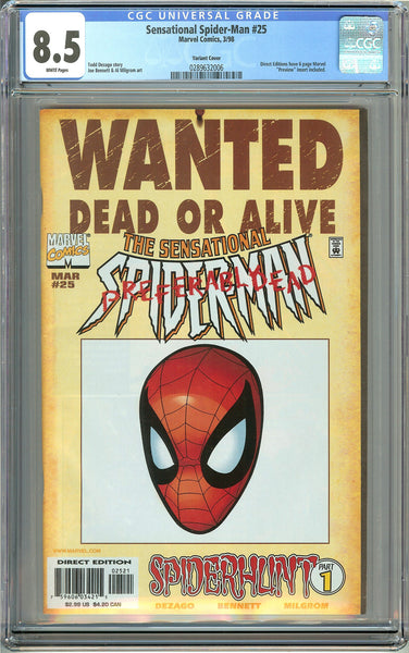 Sensational Spider-Man #89 (1998) CGC 8.5 White Pages 0289632006 Variant Cov
