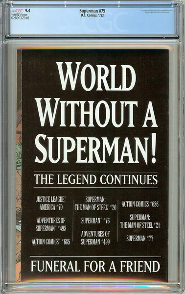 Superman #75 CGC 9.4 White Pages 0289632018 Death of Superman