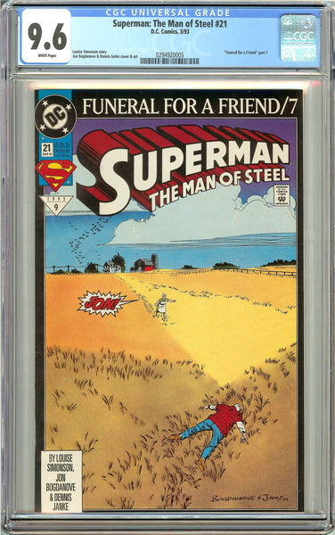 Superman The Man of Steel #21 (1993) CGC 9.6 White Pages 0294920005