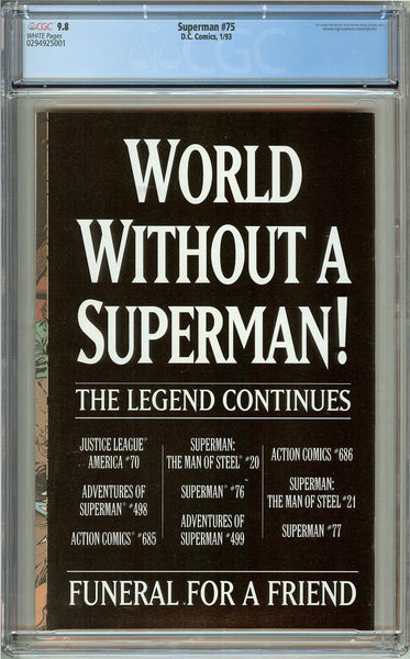 Superman #75 CGC 9.8 White Pages 0294925001 Death of Superman
