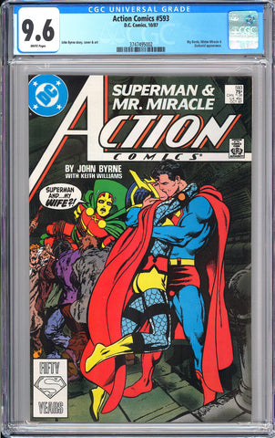 Action Comics #593 CGC 9.6 WP 1987 3747495002 Controversial Issue!