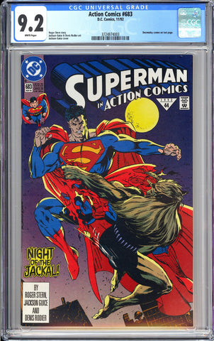 Action Comics #683 CGC 9.2 White Pages 1992 3724874003 Doomsday Cameo
