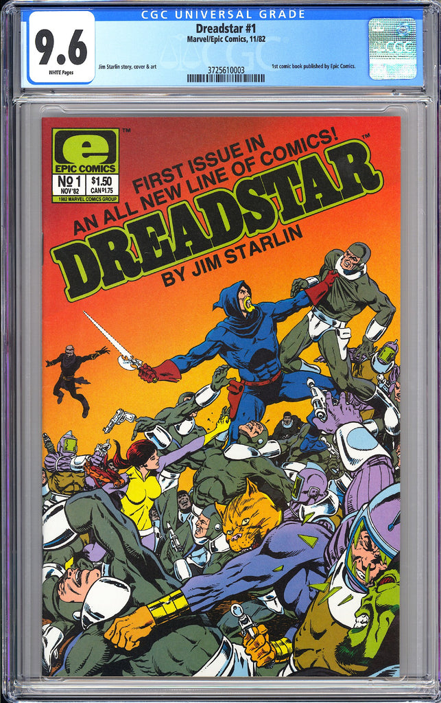 Dreadstar #1 CGC 9.6 White Pages 1982 3725610003 1st comic published by Epic