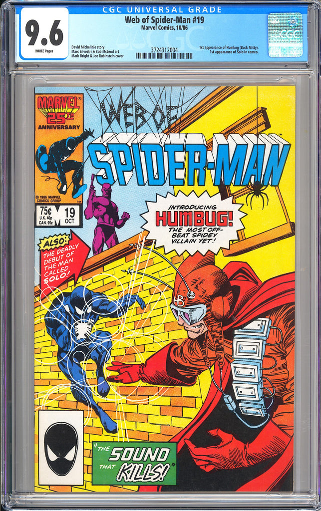 Web of Spider-Man #19 CGC 9.6 White Pages 1986 3724312004 1st Humbug & Solo